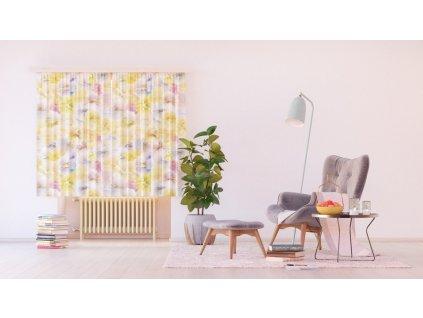 Textilní závěs FLOWERS FCSXL4808, 180 x 160 cm (2 ks), lehké zastínění