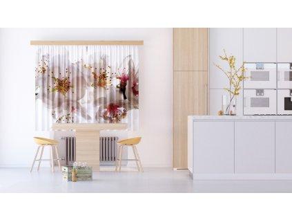 Textilní závěs FLOWERS FCSXL4809, 180 x 160 cm (2 ks), lehké zastínění