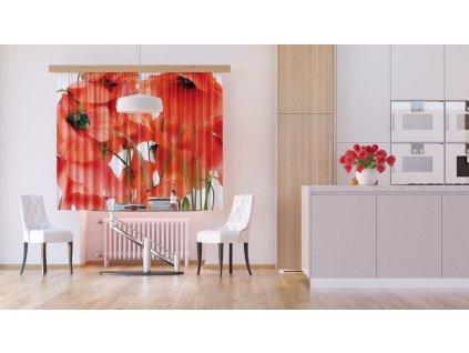 Textilní závěs FLOWERS FCSXL4811, 180 x 160 cm (2 ks), lehké zastínění