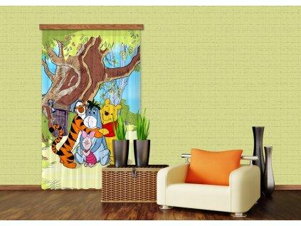 Textilní závěs WINNIE POOH WITH FRIENDS FCSL7110, 140 x 245 cm (1 ks), lehké zastínění