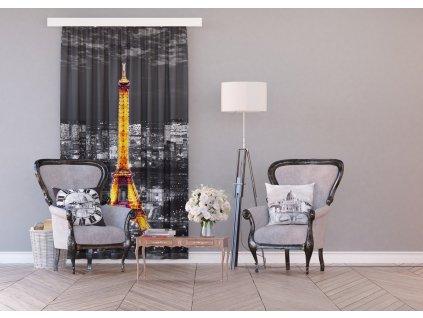 Textilní závěs PARIS IN THE NIGHT FCSL7500, 140 x 245 cm (1 ks), lehké zastínění