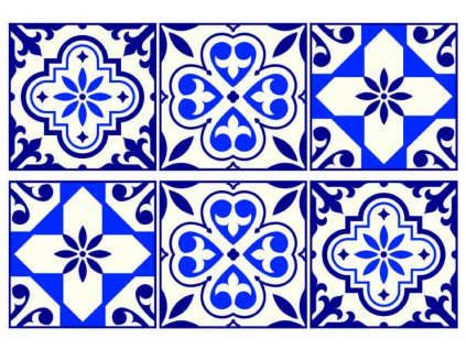 SM3448 Samolepicí dekorace Blue tiles pattern, 42,5 x 65 cm