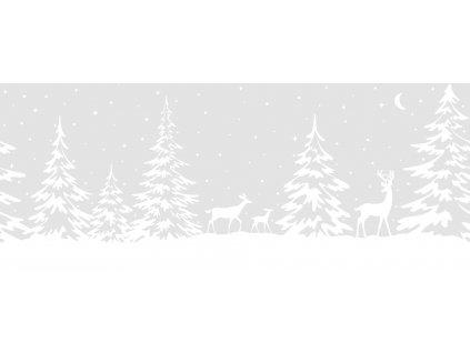 Vánoční bordura na sklo srnky v lese