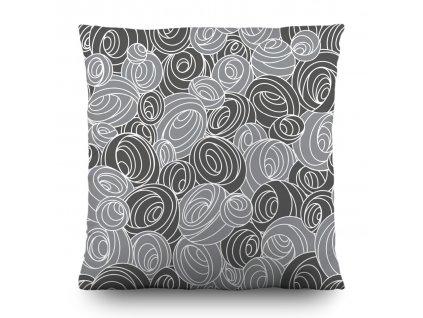 AG Design Dekorativní polštářek Gray Spirals 45 x 45 cm (srpen21)