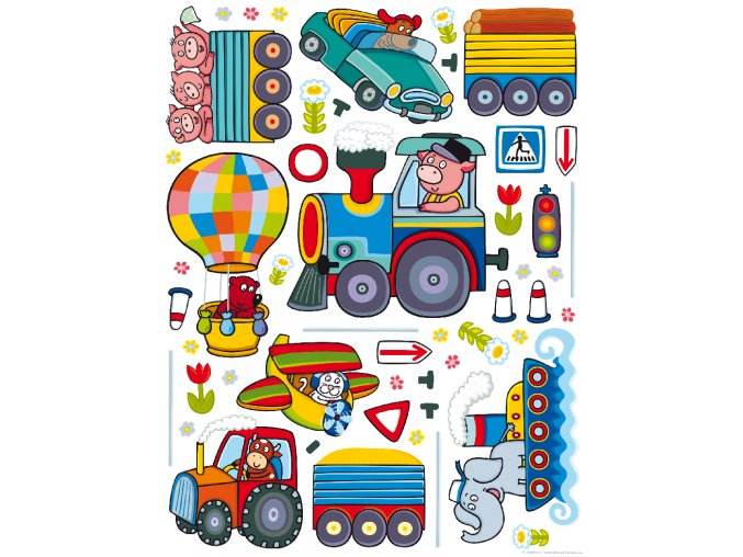 K1046 Samolepicí dekorace WALL STICKER TRAIN 65 x 85 cm