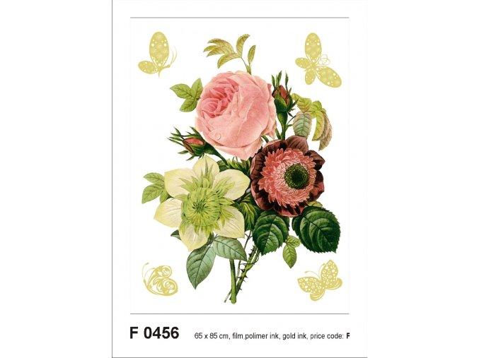F0456 Samolepicí dekorace BUNCH WITH GOLDEN BUTTERFLIES 65 x 85 cm