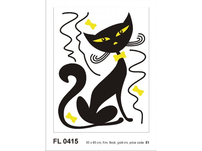 FL0415 Samolepicí velourová dekorace BLACK CAT BOY FLOCKED 65 x 85 cm