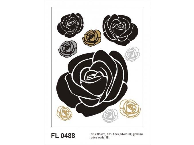FL0488 Samolepicí velourová dekorace ROSES WITH GOLD AND SILVER 65 x 85 cm