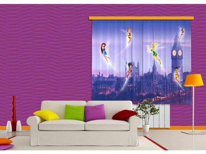 Textilní závěs FAIRIES IN LONDON FCSXL4314, 180 x 160 cm (2 ks), lehké zastínění