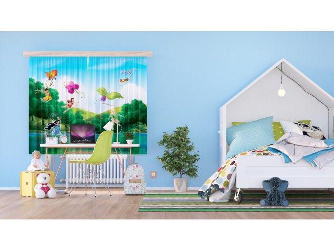 Textilní závěs FAIRIES WITH RAINBOW     FCSXL4317, 180 x 160 cm (2 ks), lehké zastínění