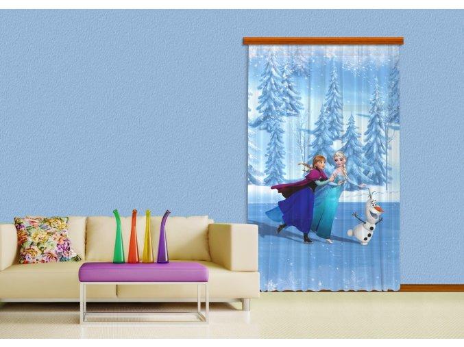 Textilní závěs FROZEN ON ICE FCSL7105, 140 x 245 cm (1 ks), lehké zastínění