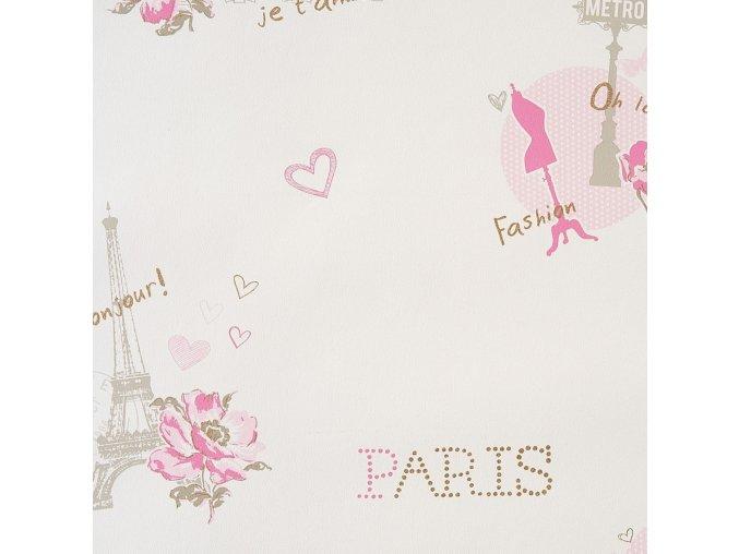 Papírová tapeta na zeď Caselio 62011060, kolekce GIRLS ONLY, materiál papír, styl moderní, dětský 0,53 x 10,05 m