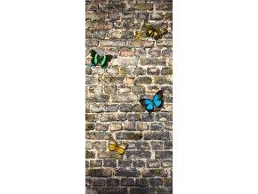1dílná fototapeta BUTTERFLY ON THE WALL, 90 x 202 cm