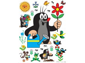 Samolepicí dekorace LITTLE MOLE WITH FLOWER 65 x 85 cm