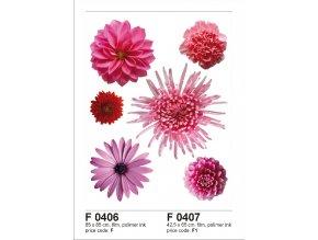 F0406 Samolepicí dekorace VIOLET FLOWER BIG 65 x 85 cm