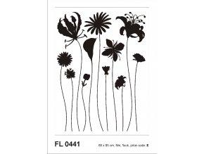 F0441 Samolepicí dekorace FLORA BLACK FLOCK 65 x 85 cm