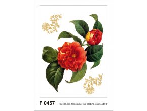 F0457 Samolepicí dekorace RED FLOWER WITH GOLDEN ELEMENTS 65 x 85 cm