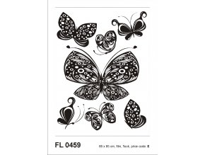 F0459 Samolepicí dekorace BLACK FLOCK BUTTERFLIES 65 x 85 cm
