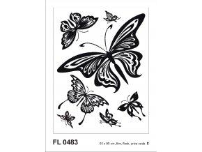 Samolepicí velourová dekorace BUTTERFLIES 65 x 85 cm