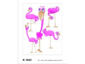K1023 Samolepicí dekorace FLAMINGO 65 x 85 cm
