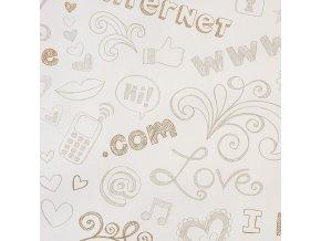 Papírová tapeta na zeď Caselio 62041020, kolekce GIRLS ONLY, materiál papír, styl moderní, dětský 0,53 x 10,05 m