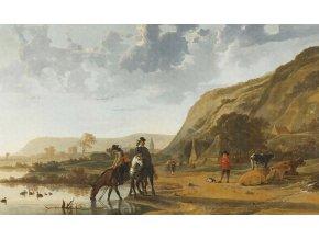 KOL8028 Luxusní fototapeta, River landscape with horseman, 9dílná