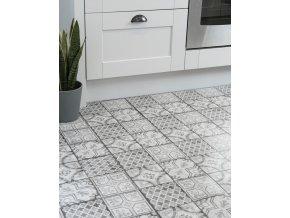 "Samolepicí podlahové čtverce ""dlaždicevzor šedobílá"""