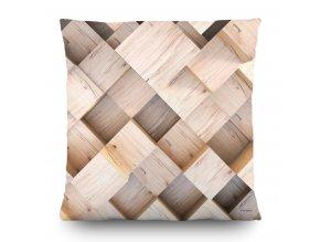 Dekorativní polštářek CN3607 3D wood 45 x 45 cm