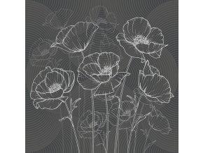 Dekorativní polštářek CN3623 Black Flowers 45 x 45 cm