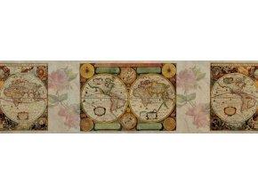 WB8220 Samolepicí bordura, šíře 14 cm Mapa, 14 x 500 cm