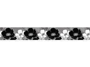 WB8239 Samolepicí bordura, šíře 14 cm Černé květiny, 14 x 500 cm