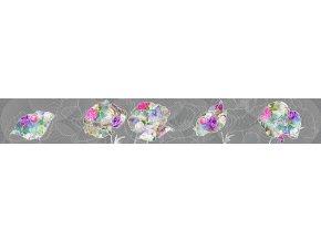 WB8244 Samolepicí bordura, šíře 14 cm Květiny na šedé, 14 x 500 cm