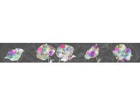WB8246 Samolepicí bordura, šíře 14 cm Květiny na šedé, 14 x 500 cm