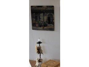 KP114 Korková podložka 25 x 25 cm, stará kavárna/ obchod