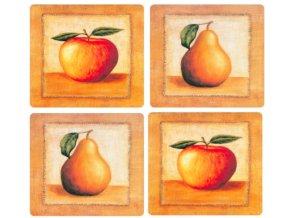 KP205 Set 4 ks korkových podložek 10,5 x 10,5 cm, jablka a hrušky na stole