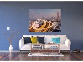 AG Design 1 dílná fototapeta NIGHT CITY BIRDSEYE VIEW FTNM 2680, 160 x 110 cm vlies