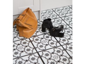 Samolepicí podlahové čtverce černobílé 2745052