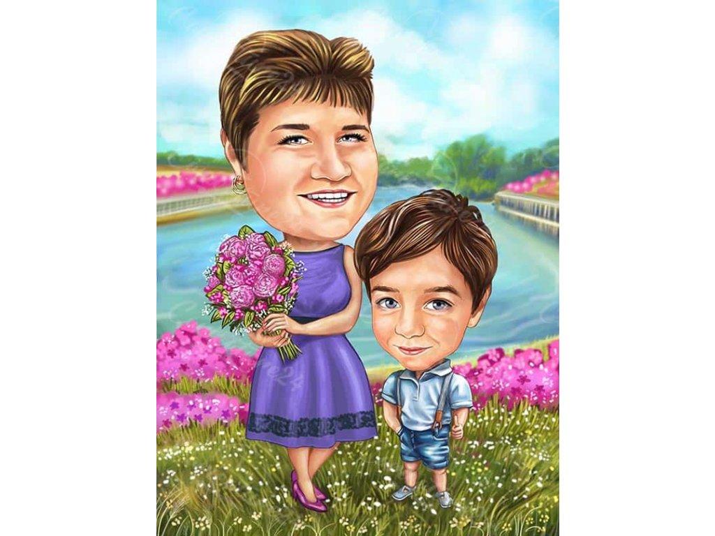 karikatura za zhena s lilava roklya i dete