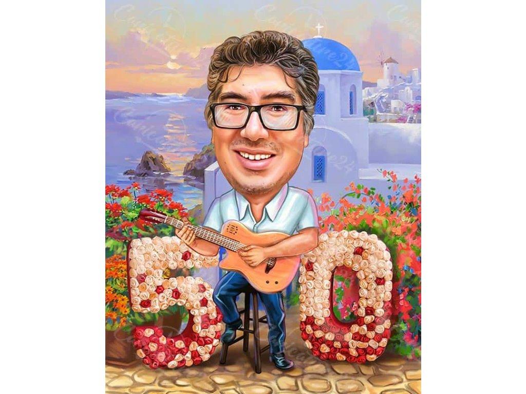karikatura za yubiley na mzh s kitara na 50