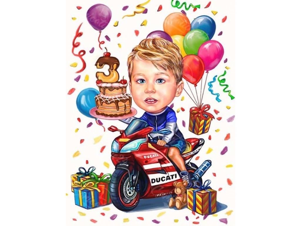 karikatura za rozhden den na dete s motor