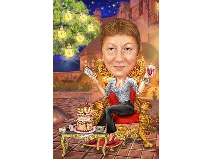 karikatura za yubiley na zhena s vino