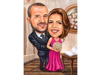 krasiva svatbena karikatura za kumove
