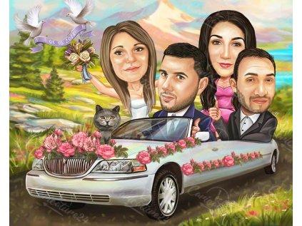 svatbena karikatura s kumove i kola