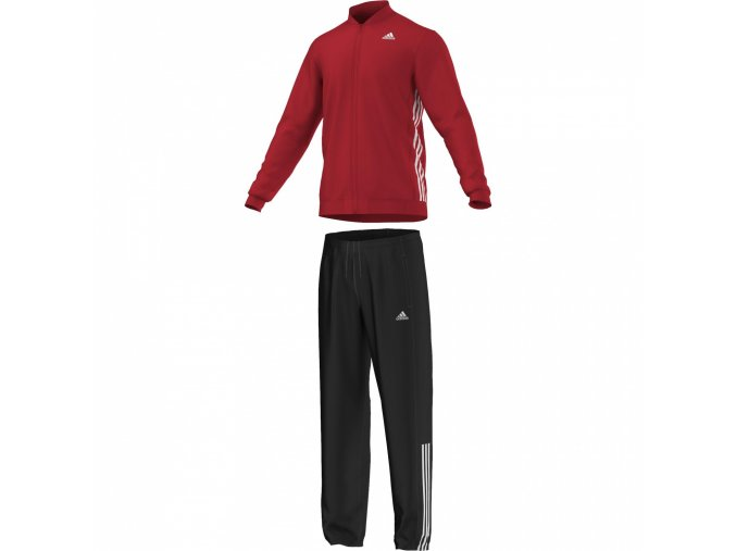 Adidas Tracksuit Essential Knit (Barva Černá-Červená, Velikost M)