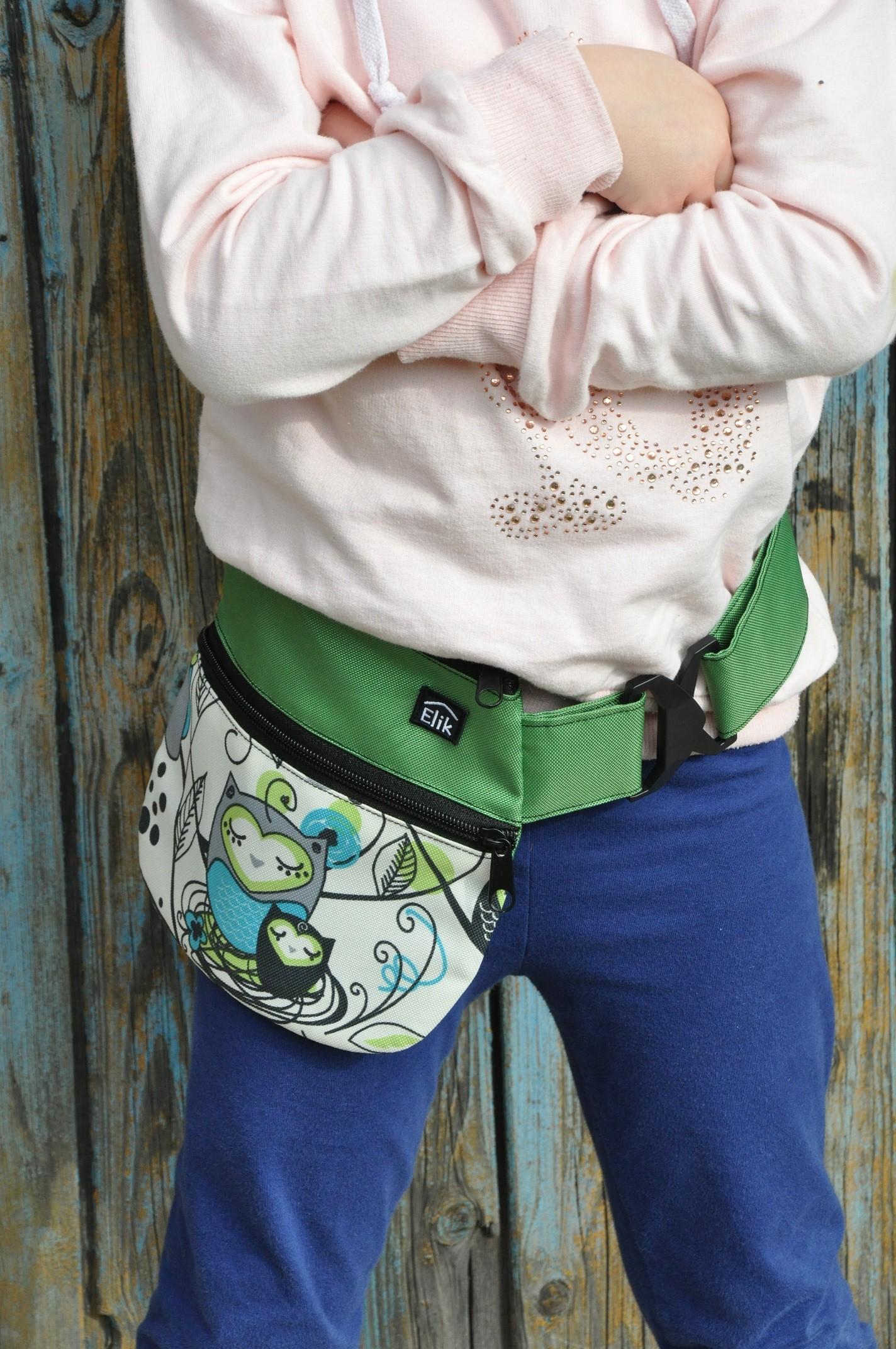 Dětské kapsičky kolem pasu Barva: Zelená sovička
