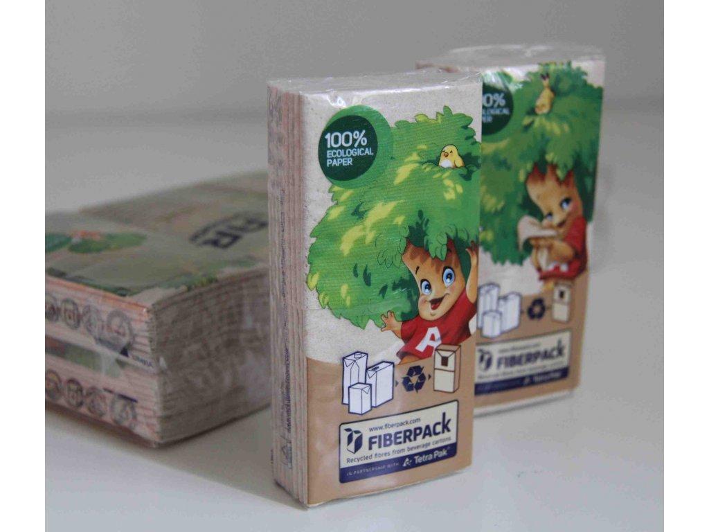 Papírové kapesníčky vyrobené z recyklovaných nápojových kartonů