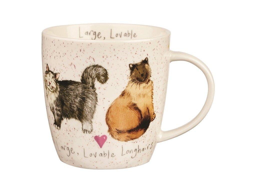 Velká, dlouhosrstá kočka, Lovable longhairs - porcelánový hrnek s motivem kočky 0,4 l, Alex Clark