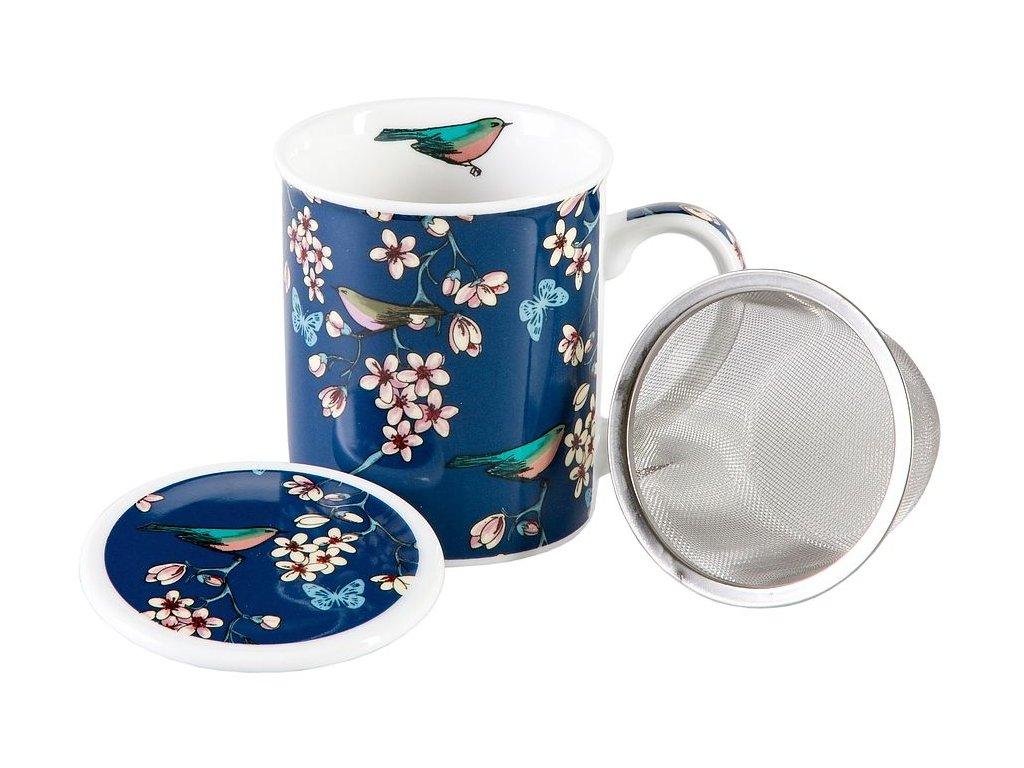 Nessie - porcelánový hrnek se sítkem a pokličkou 0,25 l, modrý