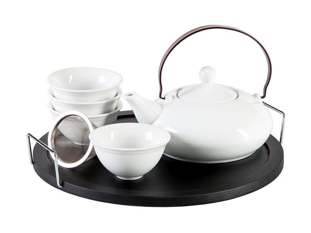 Elea -  porcelánová čajová souprava 0,1 l/0,4 l, bílá s černým tácem