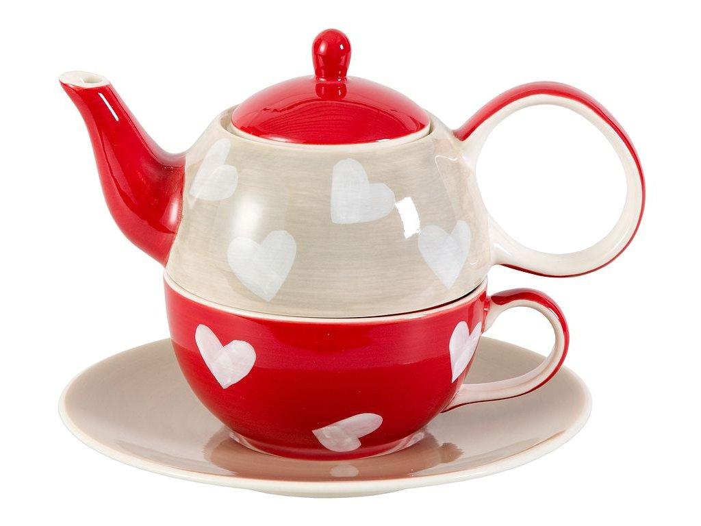 Corazon - keramická čajová souprava 0,2 l/0,4 l, tea for one, motiv srdce